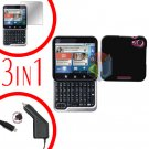 For Motorola Flipout MB511 Screen +Car Charger +Hard Case Rubberized Black 3-in-1