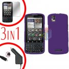 For Motorola Droid Pro A957 Screen +Car Charger +Hard Case Rubberized Purple 3-in-1