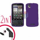 For Motorola Droid Pro A957 Car Charger +Hard Case Rubberized Purple 2-in-1