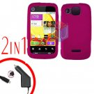 For Motorola Citrus WX445 Car Charger + Cover Hard Case Rubberized Rose Pink 2-in-1
