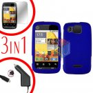 For Motorola Citrus WX445 Screen +Car Charger +Cover Hard Case Rubberized Blue 3-in-1