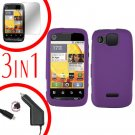 For Motorola Citrus WX445 Screen +Car Charger +Cover Hard Case Rubberized Purple 3-in-1