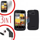 For Motorola Citrus WX445 Screen +Car Charger +Cover Hard Case Rubberized Black 3-in-1