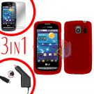 For LG Vortex VS660 Screen +Car Charger +Hard Case Red 3-in-1