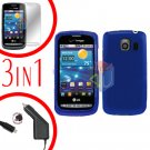 For LG Vortex VS660 Screen +Car Charger +Hard Case Blue 3-in-1