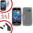For LG Vortex VS660 Screen +Car Charger +Hard Case Clear 3-in-1