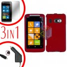 For HTC Surround T8788 Screen +Car Charger +Cover Hard Case Rubberized Red 3-in-1
