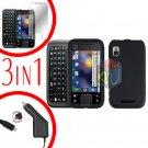 For Motorola Flipside MB508 Screen +Car Charger +Hard Case Black 3-in-1