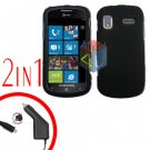 For Samsung Focus i917 Car Charger +Cover Hard Case Rubberized Black 2-in-1
