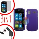 For Samsung Focus i917 Screen +Car Charger + Hard Case Rubberized Purple 3-in-1