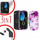For Samsung Evergreen A667 Screen +Car Charger + Hard Case H-Flower 3-in-1