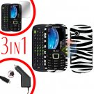 For Samsung Evergreen A667 Screen +Car Charger + Hard Case Zebra 3-in-1