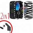 For Samsung Evergreen A667 Car Charger +Cover Hard Case Zebra 2-in-1