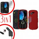 For Samsung Evergreen A667 Screen +Car Charger + Hard Case Rubberized Red 3-in-1