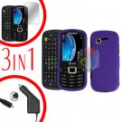For Samsung Evergreen A667 Screen +Car Charger + Hard Case Rubberized Purple 3-in-1