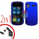 For Samsung Focus i917 Car Charger +Cover Hard Case Rubberized Blue 2-in-1
