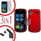 For Samsung Focus i917 Screen +Car Charger + Hard Case Rubberized Red 3-in-1
