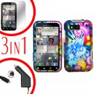 For Motorola Defy MB525 Screen +Car Charger +Cover Hard Case A-Flower 3-in-1