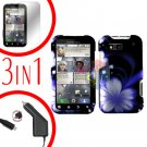 For Motorola Defy MB525 Screen +Car Charger +Cover Hard Case B-Flower 3-in-1