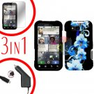 For Motorola Defy MB525 Screen +Car Charger +Cover Hard Case Flower 3-in-1