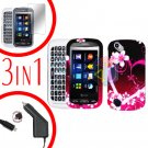 For Pantech Laser P9050 Screen +Car Charger +Hard Case Love 3-in-1