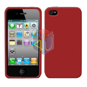 For Apple iphone 4S 4 Cover Hard Case Rubberized Red