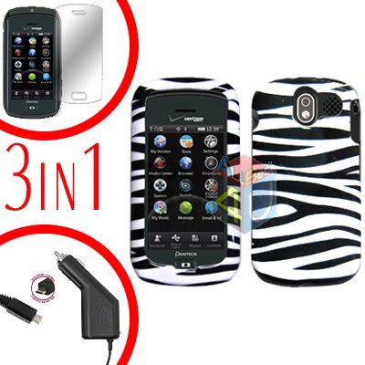 For Pantech Crux / CDM8999 Screen +Car Charger +Hard Case Zebra 3-in-1
