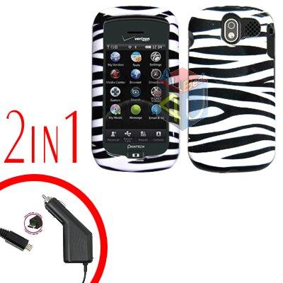 For Pantech Crux / CDM8999 Car Charger +Hard Case Zebra 2-in-1