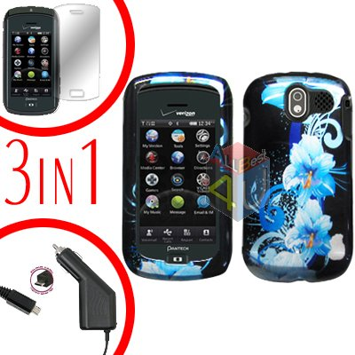 For Pantech Crux / CDM8999 Screen +Car Charger +Hard Case Flower 3-in-1