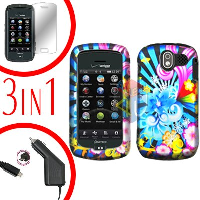 For Pantech Crux / CDM8999 Screen +Car Charger +Hard Case A-Flower 3-in-1