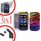For Pantech Laser P9050 Screen +Car Charger +Hard Case C-Zebra 3-in-1
