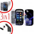 For Pantech Laser P9050 Screen +Car Charger +Hard Case B-Flower 3-in-1