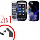 For Pantech Laser P9050 Car Charger +Hard Case B-Flower 2-in-1