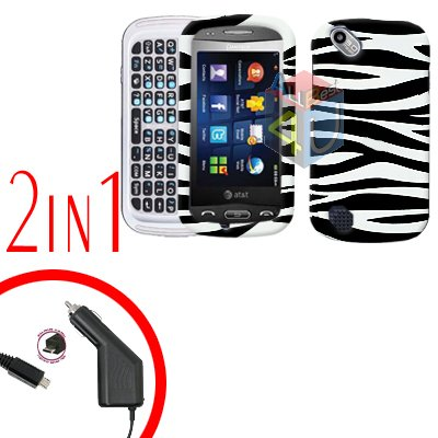 For Pantech Laser P9050 Car Charger +Hard Case Zebra 2-in-1