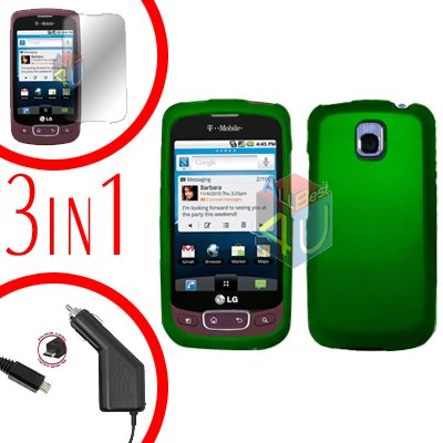 For LG Optimus-T / P509 Screen +Car Charger +Hard Case Green 3-in-1