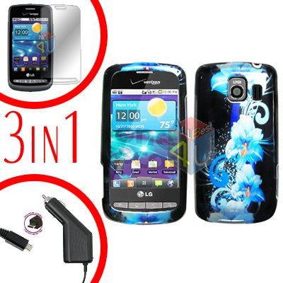 For LG Vortex VS660 Screen +Car Charger +Hard Case Flower 3-in-1