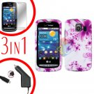 For LG Vortex VS660 Screen +Car Charger +Hard Case H-Flower 3-in-1