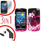 For LG Vortex VS660 Screen +Car Charger +Hard Case Love 3-in-1