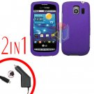 For LG Vortex VS660 Car Charger +Cover Hard Case Rubberized Purple 2-in-1