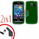 For LG Vortex VS660 Car Charger +Cover Hard Case Rubberized Green 2-in-1