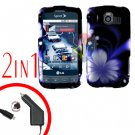 For LG Optimus-S / LS670 Car Charger +Cover Hard Case B-Flower 2-in-1