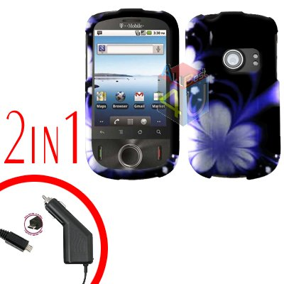 For Huawei Comet U8150 Car Charger + Cover Hard Case B-Flower 2-in-1