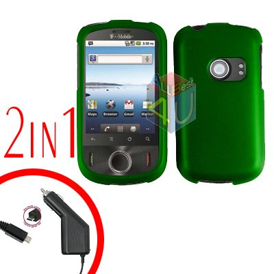 For Huawei Comet U8150 Car Charger + Cover Hard Case Rubberized Green 2-in-1