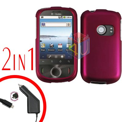 For Huawei Comet U8150 Car Charger + Cover Hard Case Rubberized Rose Pink 2-in-1