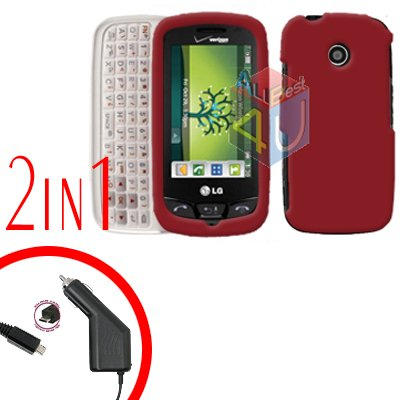 For LG Cosmos Touch VN270 Car Charger +Cover Hard Case Rubberized Red 2-in-1