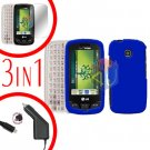 For LG Cosmos Touch VN270 Screen +Car Charger +Hard Case Rubberized Blue 3-in-1