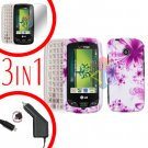 For LG Cosmos Touch VN270 Screen +Car Charger +Hard Case H-Flower 3-in-1