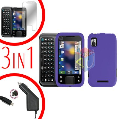 For Motorola Flipside MB508 Screen +Car Charger +Hard Case Purple 3-in-1