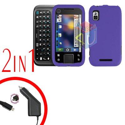For Motorola Flipside MB508 Car Charger +Hard Case Purple 2-in-1