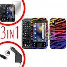 For Motorola Flipside MB508 Screen +Car Charger +Cover Hard Case C-Zebra 3-in-1